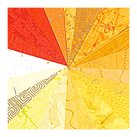 Indiskt Handgjort Papper - 16 st - 30 x 30 cm - Yellow/Orange - 95228C