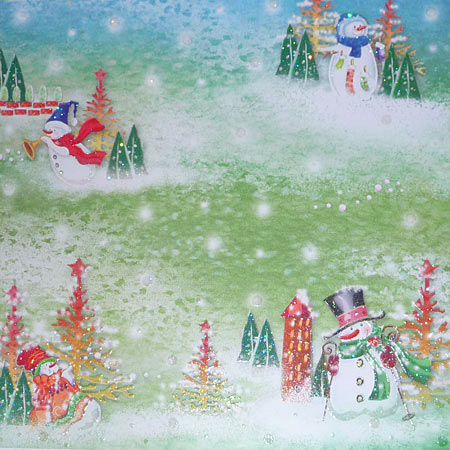 Glitterpapper - Best Creation - Snowman And Snowflake - GP174